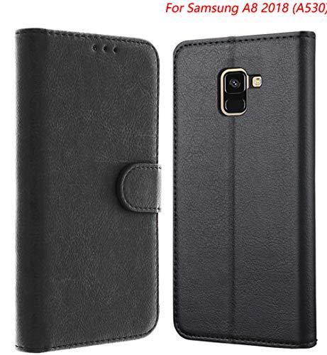 Tenphone Etui Coque Samsung Galaxy A8 2018, Protection Etui Housse en Cuir Portefeuille Livre,[Emplacements Cartes],[Fonction Support],[Languette Magnétique] pour (Samsung A8 2018 (A530), Noir)