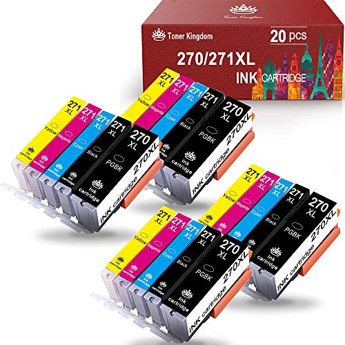 Toner Kingdom Compatible Ink Cartridge Replacement for Canon PGI-270XL CLI-271XL to use with PIXMA MG6820 MG5720 TS5020 TS6020 TS9020 (4 Large Black,4 Small Black,4 Cyan,4 Magenta,4 Yellow) 20 Pack