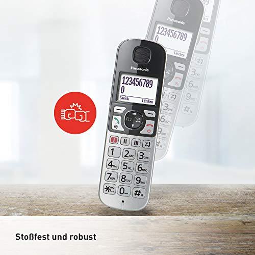 Panasonic KX-TGE520GS DECT Seniorentelefon mit Notruf (schnurlos, Festnetztelefon mit Anrufbeantworter, Großtastentelefon, Eco-Plus) silber-schwarz