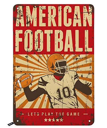 Swono American Football Blechschild, Gamer Play Football auf rotem Hintergrund, Vintage, Metallschild für Männer und Frauen, Wanddekoration für Bars, Restaurants, Cafés, Pubs, 30,5 x 20,3 cm