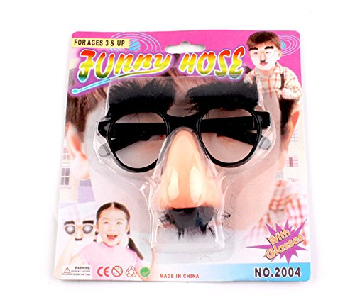 Wendy Mall Funny Costume Halloween Big Nose Beard Glasses Disguise Eyebrows and Mustache Glasses Fake Nose Party Props