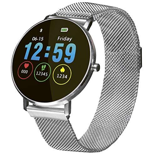 Fitnesstracker mit Herzfrequenz Puls Blutdruck Schlaf Schritte Farbdisplay Smartwatch Metall Armband Uhr - 9707 (Silber)