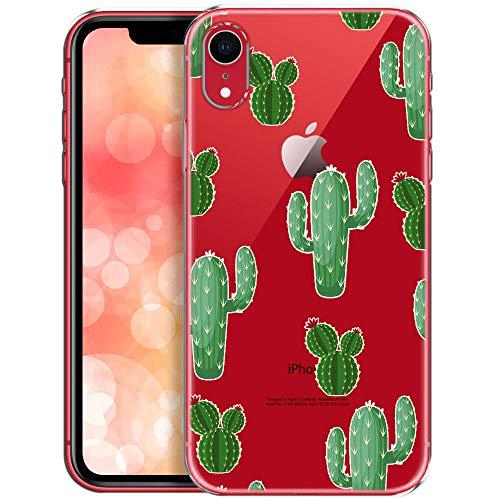 OOH!COLOR Handyhülle kompatibel mit iPhone XR Hülle transparent Muster dünn Slim Silikon durchsichtig Bumper Schutzhülle Case Kakteen mit Blumen