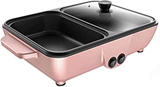 Mini Barbecue Hot Pot All-in-One Barbecue Stove Multi-Function Barbecue Machine Household Baking Pot Electric Baking Pan 2 Temperature Control,Pink