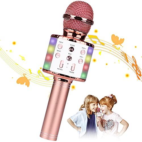 Micrófono Karaoke, Guiseapue Microfono Inalámbrico Karaoke Portátil con Luces LED, Bluetooth Altavoz, para Niños Canta Partido Musica, Regalos para Niña de 3-12 Años/Adultos