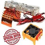 Powerhobby Traxxas Slash 4x4 Motor Cooling Fan/HeatSink Dual Twin Fan + Velineon VXL-3s ESC Cooling Fan Combo Orange