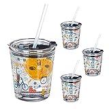 Relaxdays Juego de 4 vasos de cristal con tapa y pajita, 350 ml, aptos para lavavajillas, transparentes