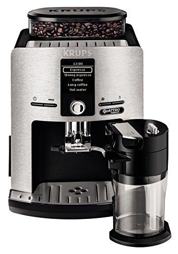 Krups EA82FD Kaffeevollautomat Latt'Espress Quattro Force mit Aluminiumfront, One-Touch Funktion, Milchbehälter, 1,7 L, 15 Bar, 1450 W, aluminium/schwarz