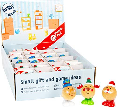 Small Foot 11468 Display Weihnachtsfiguren zum Aufziehen aus Holz, Set aus 24 Figuren, Jede ca. 4x4x6cm Spielzeug, Mehrfarbig