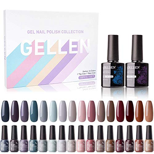 Gellen 16 Colors Gel Nail Polish Kit - With Top Base Coat, Cool Neutral Wine Browns Nude Grays Earthy Shades, Popular Autumn Winter Nail Gel Colors Nail Art DIY Home Gel Manicure Set