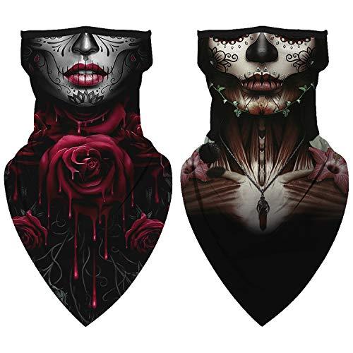 YIZEKE 2pcs Seamless Triangle Bandana Neck Gaiter Face Scarf Cover Masks with Ear Loops Halloween Skull Balaclava
