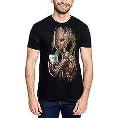 Avengers Camiseta Hombre Groot Infinity Was Marvel Elven Forest algodón Negro