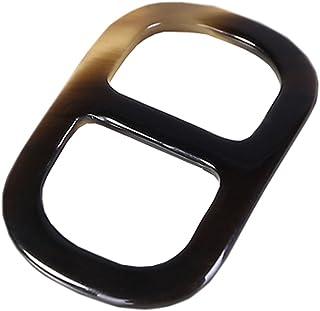 prettystern - Anello Sciarpa Genuina Corno di Bufalo Asciugamano Titolari Forma Quadrata Horn Con Sacchetto di Velluto