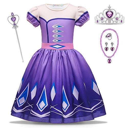 O.AMBW Vestido Corto Disfraz de Princesa Elsa Azul Celebración Vestido Violeta Reina Anna Manga Corta Cosplay Carnaval Disfraz de Halloween con 5 Accesorios para niñas