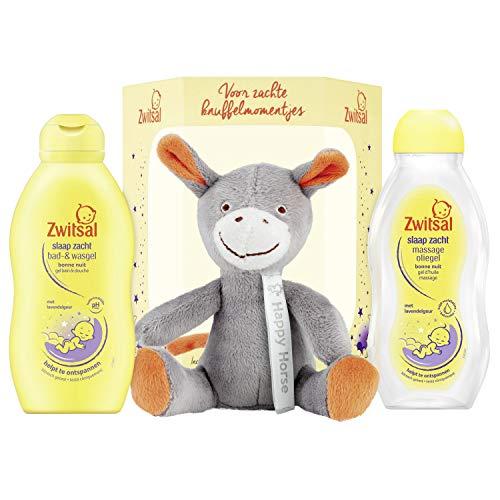 Zwitsal Slaap Zacht Geschenkset 3-delig - Bad- en wasgel, Massageolie en Happy Horse Knuffel Cadeaupakket