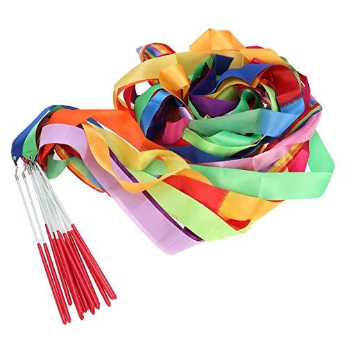 Colorful Dance Ribbons Sticks Gymnastics Rhythmic Streamers Gym Ribbons Dancing Wands for Kids Artistic Baton Twirling 14pcs