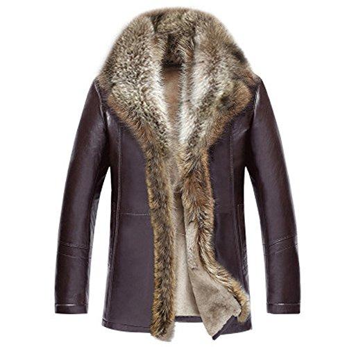 TEERFU Mens Luxury Winter Fur Collar Sheep Leather Long Coat Jacket Warm Lined Brown