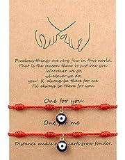 WILLBOND 2 Pezzi Braccialetto di Amicizia di Distanza di Corrispondenza Bracciali Intrecciati a Mano Regalo per Amici Coppia e Amante, Bracciale di Occhi Malvagi con 1 Carta di Auguri