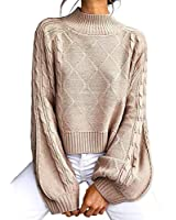 Women's Mock Turtleneck Lantern Sleeve Cable Knit Pullover Sweater Tops Khaki