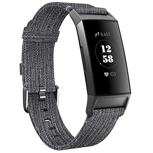 KIMILAR Cinturini Compatibile con Fitbit Charge 3   Charge 4 Tessuto, Sgancio Rapido Morbido Sostituzione Stoffa Nylon Braccialetto Cinturino per Charge 4   Charge 3   SE (Carbone)