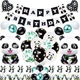 Welliboom Cute Cartoon Panda Birthday Party Supplies with Banner, Children Party Decoration, Children Panda Themed Birthday Party Decoration Full Birthday Set 58PCS For Birthday Party