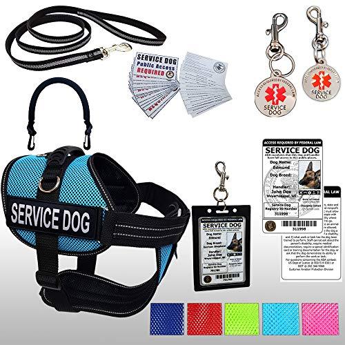 Activedogs Service Dog Kit Air-Tech Mesh Service Dog Vest Harness + Free Registered Service Dog ID + Clip-on Bridge Handle + ADA/Federal Law Cards + Service Dog Travel Tag (L - Girth 25'-35', Aqua)