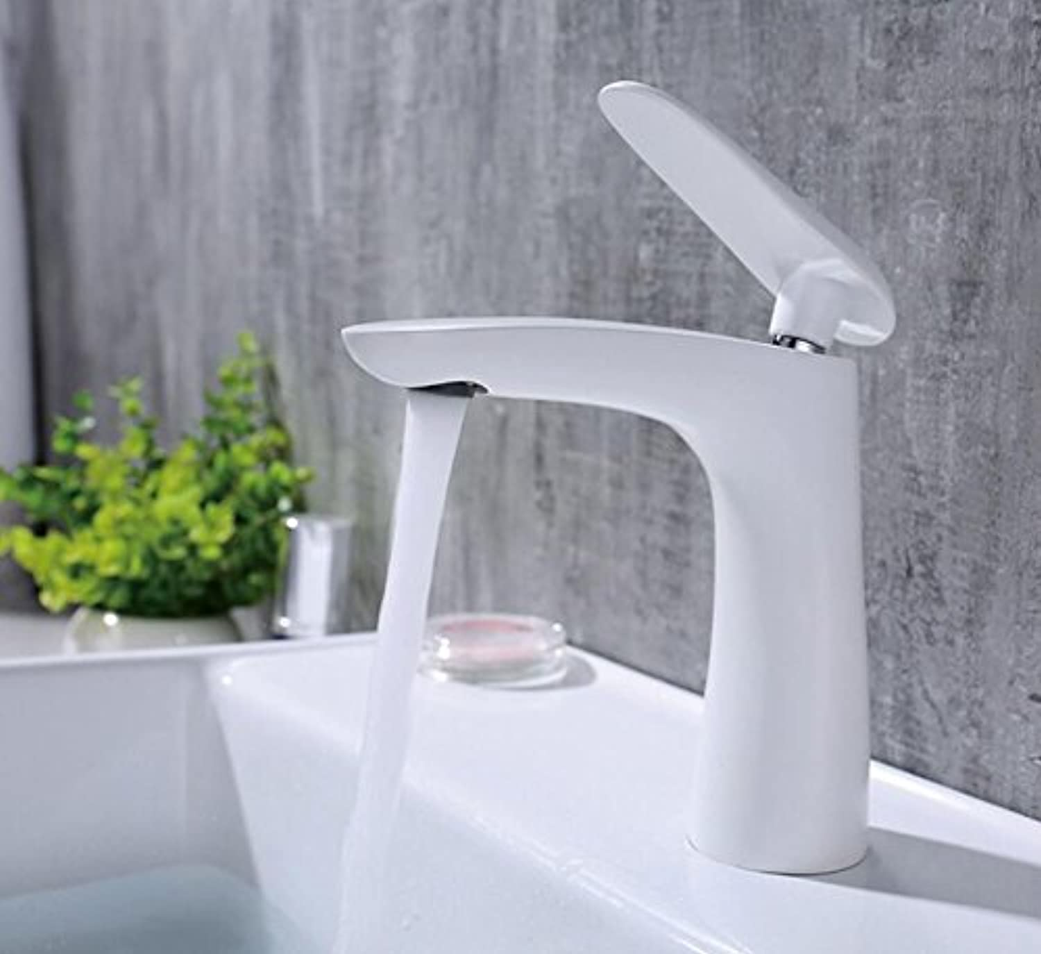 Makej New Brass Bathroom Water Mixer White Waterfall Faucets Tap Bathroom for Sink Cold and Hot Water Mixer
