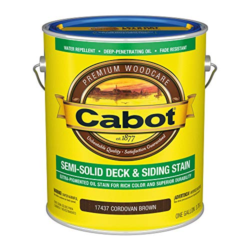 Cabot 140.0017437.007 Semi-Solid Deck & Siding Low VOC Stain, Gallon, Cordovan Brown