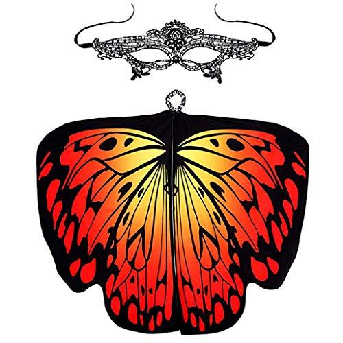 YAYAKI Mädchen Schmetterlingsflügel Damen Cosplay Butterfly Wings Schal Fairy Umhang mit Maske