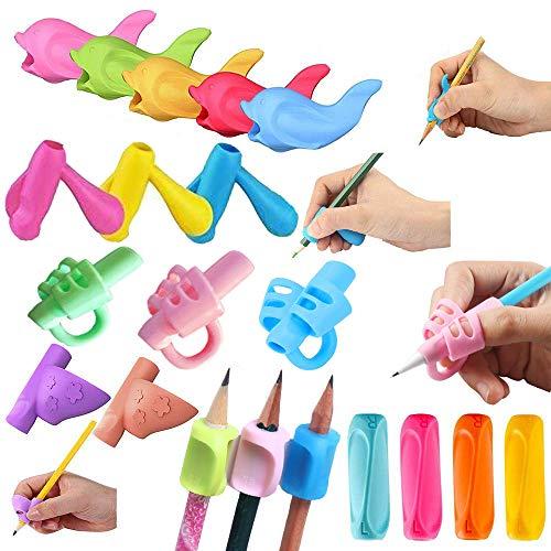 Agarres de lápiz para escritura a mano para niños, 20 unidades, agarre ergonómico, ayuda para escritura y corrección de postura, herramientas de entrenamiento para niños