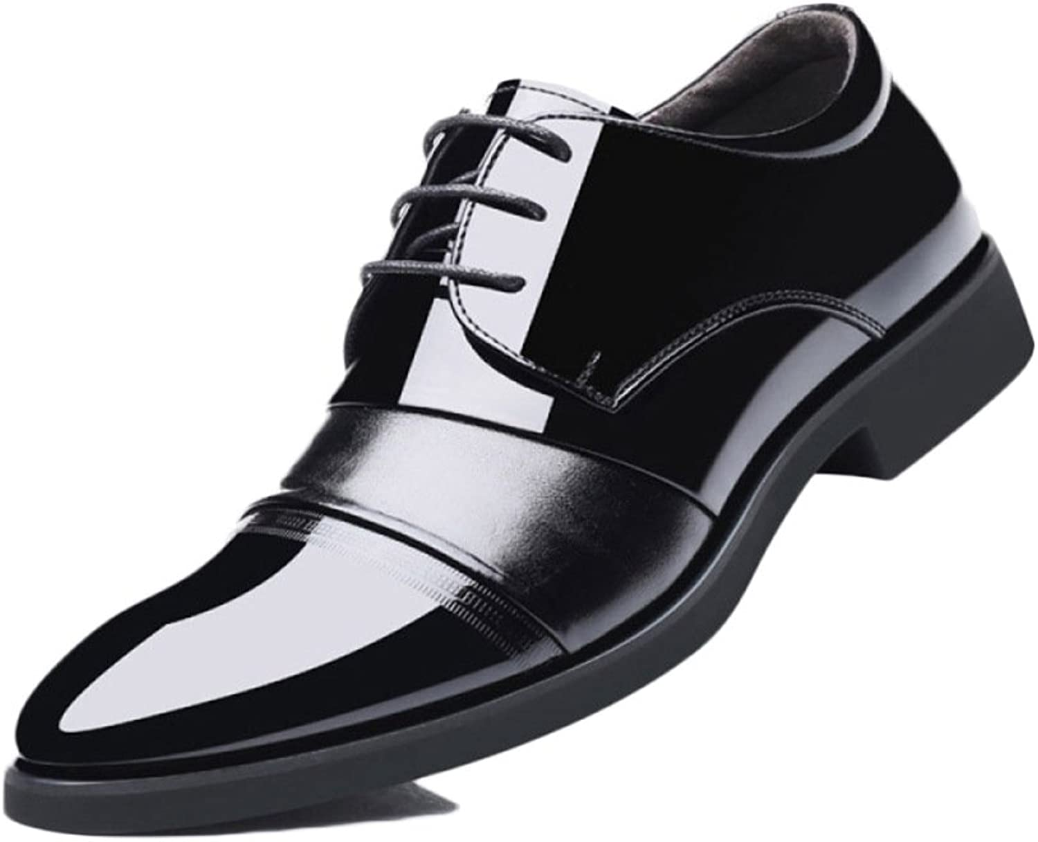 Male Leather shoes Black Tie Formal Soft Commerce Increased Within 6cm Dress shoes Men's shoes Fashion Lace