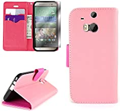 HTC One M8 Wallet Phone Case and Screen Protector | CoverON (CarryAll) Pouch Series | Tough Textured Exterior (Light Pink / Hot Pink) Flip Stand Cover with Credit Card and Cash Holder Slots for HTC One M8 (Android and Windows Versions)