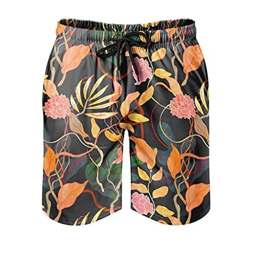 kikomia Bañador para hombre, estilo vintage tropical con estampado de plantas, ropa de playa, con bolsillos, forro de malla, color blanco, 3XL