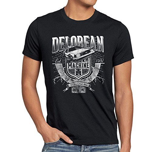 style3 Outa Time T-Shirt Herren DMC Zukunft Delorean zeitreise, Größe:XL, Farbe:Schwarz