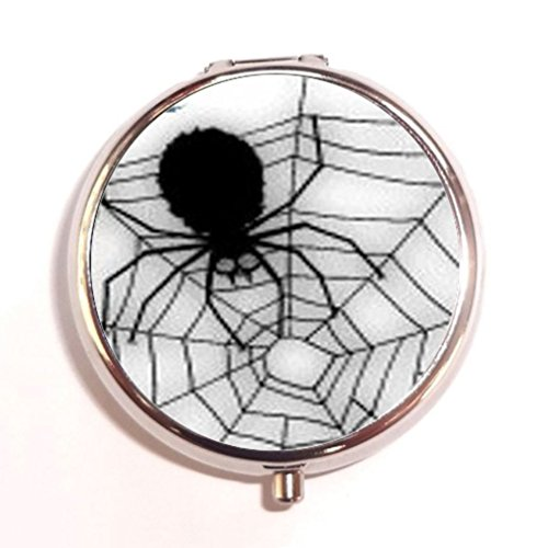 Halloween Black Widow Spider Web Custom Unique Silver Round Pill Box Medicine Tablet Organizer or Coin Purse