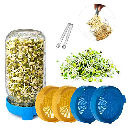 Sprouting Lids,4 Pack and 1Mini Clip, for Wide/Large Mouth Sprouting Mason Jar, Easy Rinse & Drain,for Mung Beans Seeds Broccoli/Alfalfa Seeds Sprouting,Microgreens Growing Kit