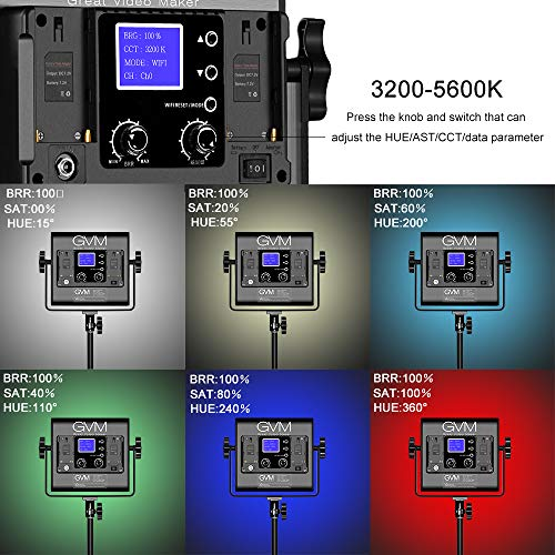 GVM RGB LED Video Lighting Kit, 800   D Studio Video Lights with APP Control, Video Lighting Kit for YouTube Photography Lighting, 3 Packs Led Light Panel, 3200K-5600K, 8 Kinds of The Scene Lights