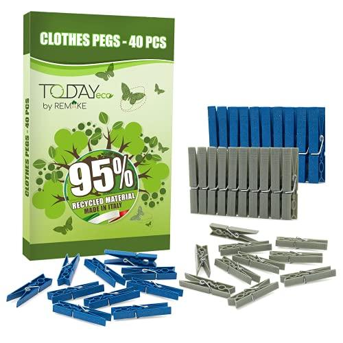 Remake 40 Piezas - Pinzas Ropa Ecológico 95% con Plastico Reciclado, Talla Grande. Fuertes y a Prueba de Viento. Made in Italy. Color Azul y Gris