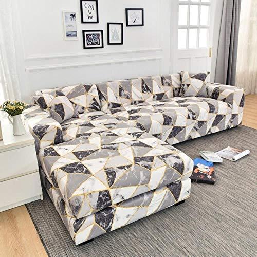 Funda de sofá elástica con estampado floral para el protector de la funda de la silla de la sala de estar rchase dos fundas separadas para todo su sofá en forma de L Color 23,4 plazas 235-300 cm