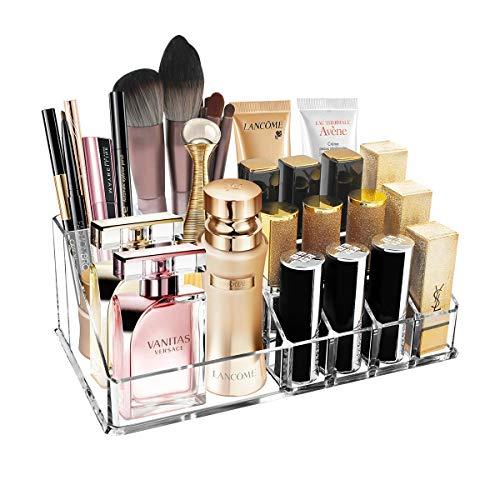 Ubitree Makeup Organizer, Kosmetikvitrine mit 16 Abschnitten für Lippenstift Makeup Brush Eyeliner Nagelgel Parfüm, Acryl Kosmetik Aufbewahrungsbox für Badezimmertheke, Waschtische(Klar)