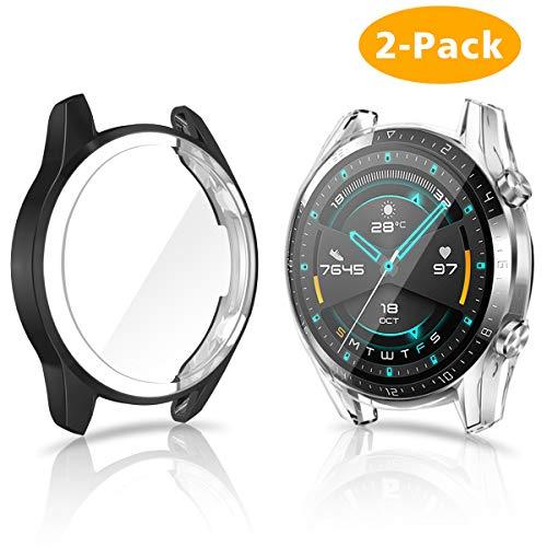 CAVN Hülle Kompatibel mit Huawei Watch GT 2 46mm Schutzhülle Schutzfolie [2-Stück], Flexibles TPU Vollschutz Bildschirmschutzfolie Kratzfest Bildschirmschutz Schutz Hülle Gehäuse (Passt Nicht GT 1 und 42mm)