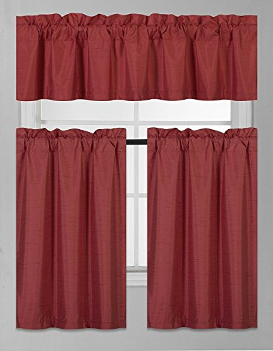 Fancy Collection 3 Pieces Faux Silk Blackout Kitchen Curtain Set Tier Curtains and Valance Set Solid Burgundy Window Set Thermal Backing Drapes New