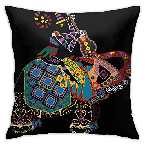 wteqofy Velvet Pillow Covers Woman Sitting with Elephant Blowing Instrument Painting Pillow Cases Decorative Square Pillowcase Soft Cushion Case for Sofa Bedroom Car 18 X 18 Inch