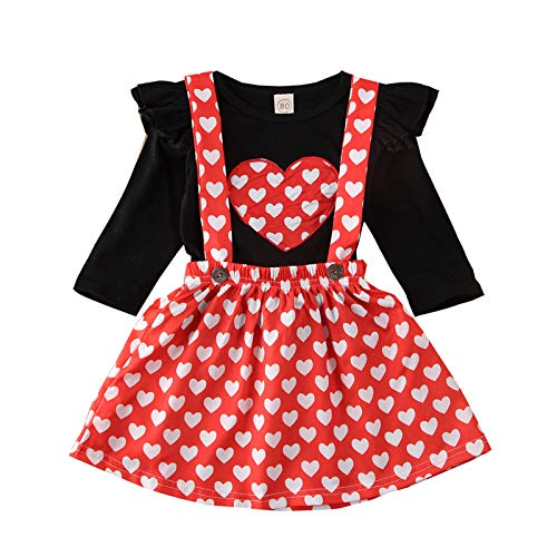 Eternali Red Love Heart Printed Toddler Infant Baby Girl Clothes Set Long Sleeve Ruffle Shoulder Black T Shirt Tops + Button Strap Skirt Valentine's Day Princess Dress Sweet Cute Girls Party Outfits