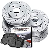 Power Sport Cross Drilled Slotted Brake Rotors and Ceramic Brake Pads Kit -80141 [Front & Rear]