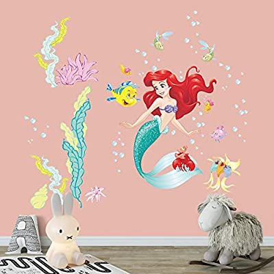 Supzone Mermaid Wall Stickers Ocean Theme Decoration Peel and Stick Wall Decor Girls Baby Bedroom Kids Nursery Bathroom Wall Decals