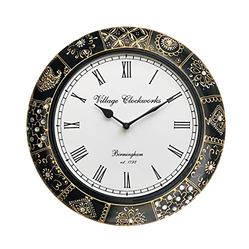 RoyalsCart Floral Design Painting Analog Wall Clock - 12x12 Inch (Dial- 8...