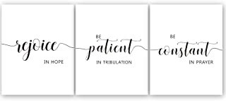 Black and White Inspirational Quote and Saying Art Print Rejoice in Hope Bible Verse Art Poster Painting Set of 3(8