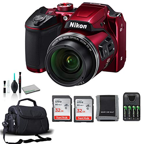 Nikon COOLPIX B500 Digital Point & Shoot Camera (Red) 26508 Bundle with 4X AA Batteries + 2X Sandisk Memory Cards + More