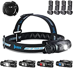 WUBEN H1 LED Headlamp Flashlight USB Rechargeable 1200 Lumens White & Red Light 10 Modes IP68 Waterproof Hard Hat Head Lamp 18650 Battery Included for Work, Hiking, Climbing, Fishing, Hunting